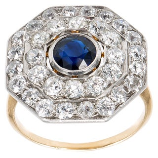 Platinum and 18k Yellow Gold 2ct TDW Diamonds and Sapphire Octagon Top Estate Ring Size 6 (H-I, SI1-SI2)
