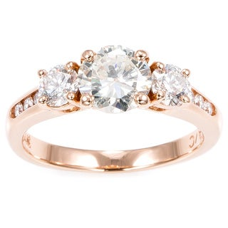 14k Pink Gold 1 3/5ct TDW 3-stone Engagement Ring (K-L, SI1-SI2)