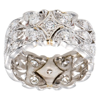 Platinum 2ct TDW Diamond Antique Patterned Wide Estate Eternity Band Size 7.5 (G-H, VS1-VS2)