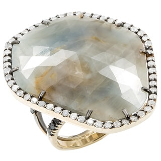 14K Yellow Gold 2ct TDW Giant Freeform Grey Quartz Double Band Cocktail Ring (J-K, I2-I3)