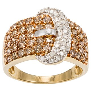 10K Yellow Gold 1 3/4ct TDW Belt Buckle Pave Diamond Ring (Champagne / L-M, I2-I3)