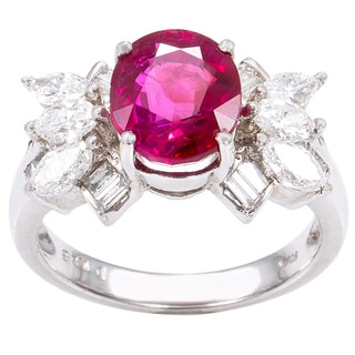 Platinum 1 1/4ct TDW Diamonds and Ruby Cocktail Ring (G-H, VS1-VS2)