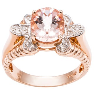 10k Pink Gold 1/7ct TDW Diamond and Pink Topaz Cocktail Ring (J-K, I1-I2)