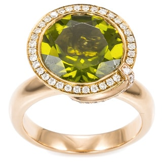 18K Yellow Gold 1/2ct TDW Peridot Cone-top Estate Ring (H-I, SI1-SI2)