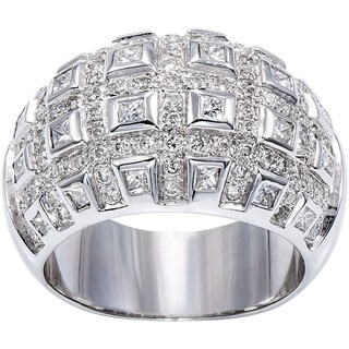 18K White Gold 2 1/4ct TDW Checkerboard Pattern Wide Band Ring (H-I, SI1-SI2)