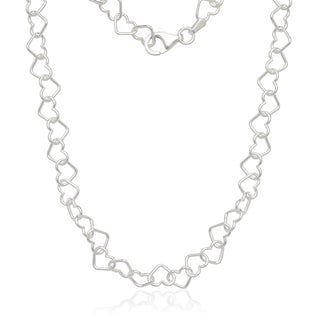 White Italian Sterling Silver Interlocking Heart Chain Necklace