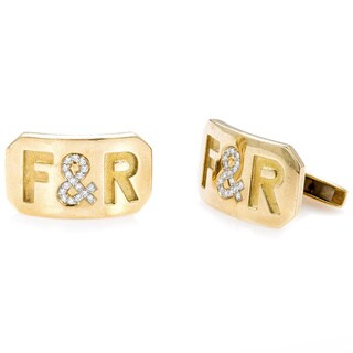 "18K Yellow Gold 1/4ct TDW ""F&R"" Cufflinks by Fairfax & Roberts (H-I, VS1-VS2)"