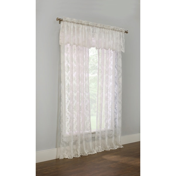 The Gray Barn Cattail Hollow White Lace Sheer Curtain Panel