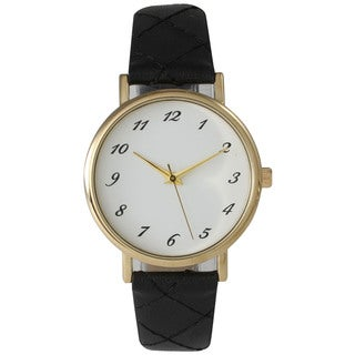 Olivia Pratt Women's Beige/Black/White Leather and Stainless Steel Quilt Style Watch