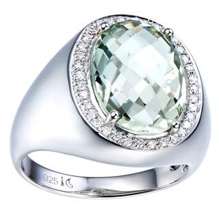 Sterling Silver Green Quartz and Diamond Silver Gemstone Ring