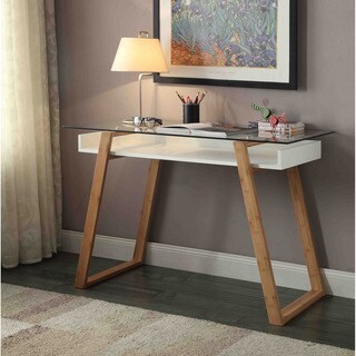Convenience Concepts Oslo Sundance White Wood And Glass Contemporary Desk