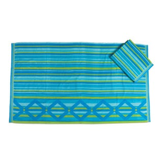 Tiddly Winks Blue/Green Cotton Set of 2 Beach Towels