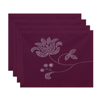 18 x 14-inch Traditionalal Flower-Single Bloom Floral Print Placemat (Set of 4)