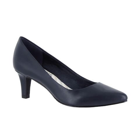 Easy Street Womens POINTE Navy Faux Leather Dress Heels