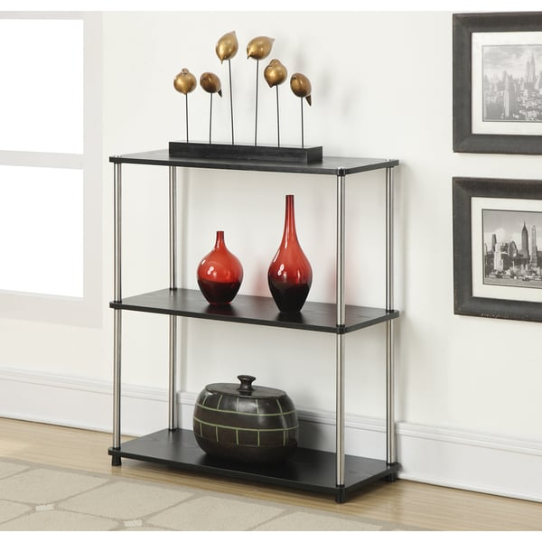 Convenience Concepts Designs2Go Black Wood, Veneer and Steel Three-tier Bookshelf