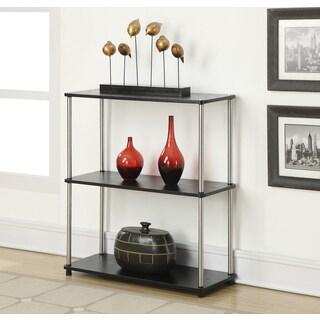 Convenience Concepts Designs2Go Black Wood, Veneer and Steel Three-tier Bookshelf