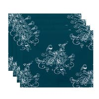 18 x 14-inch Morning Birds Floral Print Placemat (Set of 4)