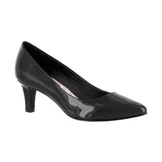 Easy Street Women's POINTE Black Faux Leather Heel