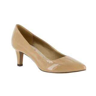 Easy Street Women's POINTE Nude Faux Leather Dress Heels