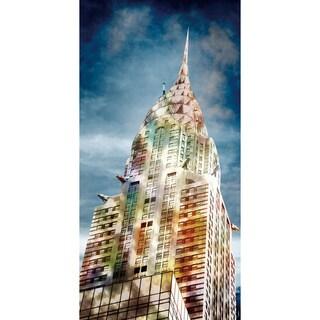 Benjamin Parker 'Chrysler in Color' 24-inch x 48-inch Tempered Glass Art