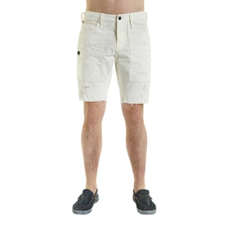 Excelled Men's White Cotton Distressed Shorts