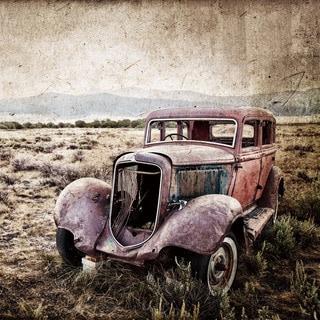 Benjamin Parker 'Vintage Truck II' Multicolored 32-inch Tempered Art Glass