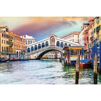 Benjamin Parker 'Canal' 24-inch x 36-inch Tempered Glass Art