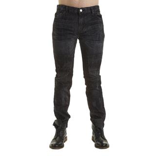 Excelled Men's Blue/Black Cotton Quilted Moto Jeans