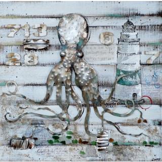 Benjamin Parker 'Ball Harbor' 40-inch Wood and Metal Wall Art