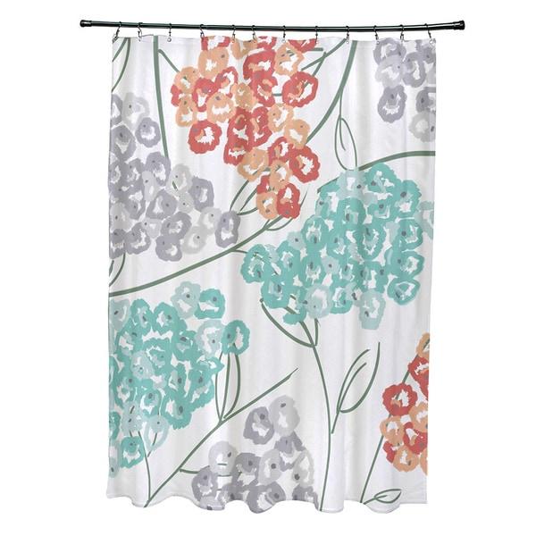 71 x 74-inch Hydrangeas Floral Print Shower Curtain