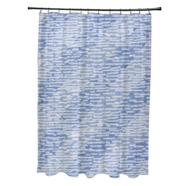 71 x 74-inch Marled Knit Stripe Geometric Print Shower Curtain