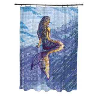71 x 74-inch Mermaid Geometric Print Shower Curtain