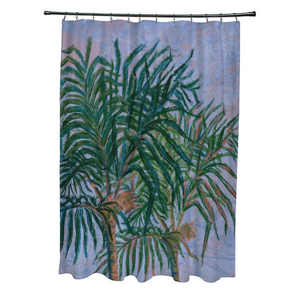 71 x 74-inch Palms Floral Print Shower Curtain