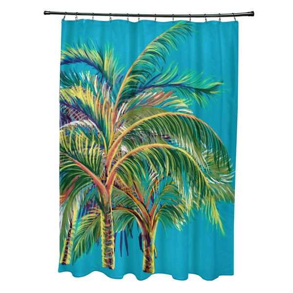 71 x 74-inch Vacation Floral Print Shower Curtain