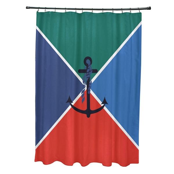 71 x 74-inch Anchor Flag Geometric Print Shower Curtain