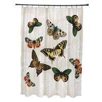 71 x 74-inch Antique Butterflies and Flowers Animal Print Shower Curtain