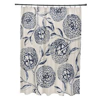 71 x 74-inch Antique Flowers Floral Print Shower Curtain
