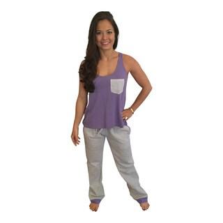 Women's Grey Seersucker With Purple Pajama Pant Set