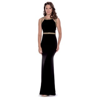 Decode 1.8 Women's Black and Gold Beaded Long Dress
