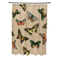 71 x 74-inch Butterflies Animal Print Shower Curtain