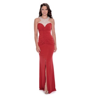 Decode 1.8 Women's Red Polyester Halter Beaded Ruched Dress with Slit