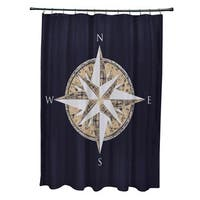 71 x 74-inch Compass Geometric Print Shower Curtain