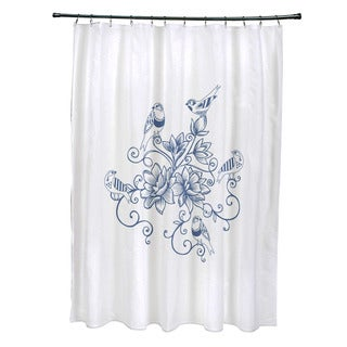 71 x 74-inch Five Little Birds Floral Print Shower Curtain