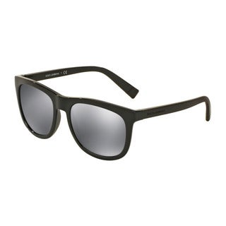 D&G Men's DG6102 501/6G Black Plastic Square Sunglasses