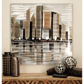 Contemporary 40 x 40 inch Cityscape on Canvas Wall Art by Studio 350 - Multi-color