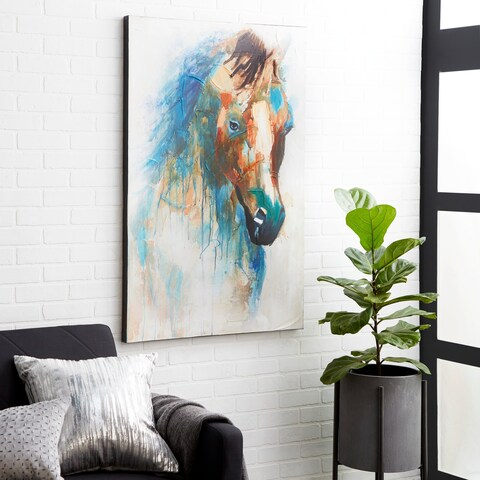 Eclectic 47 x 32 inch Horse Imitation on Canvas Wall Art by Studio 350 - multi