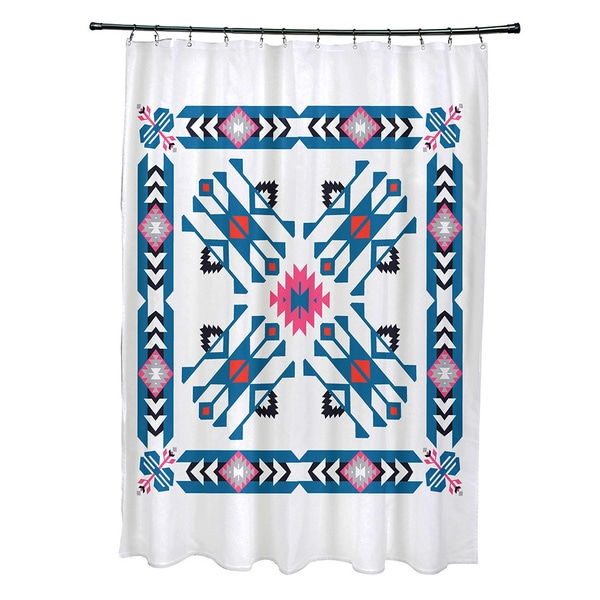 71 x 74-inch Jodhpur Border 4 Geometric Print Shower Curtain
