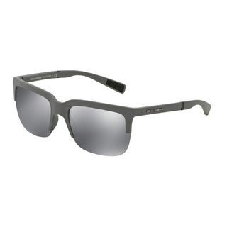 D&G Men's DG6097 26516G Grey Plastic Square Sunglasses
