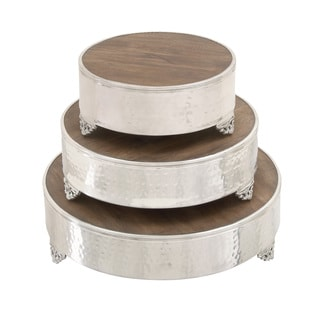 Aluminum Wood 14-inch x 18-inch x 22-inch Cake Stand (Set of 3)