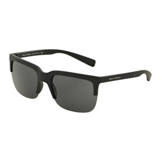 D&G Men's DG6097 261687 Black Plastic Square Sunglasses